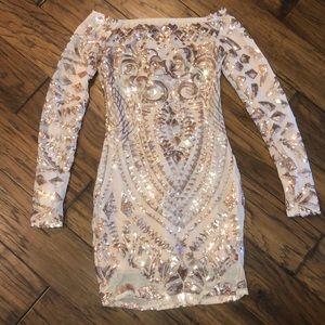 Dresses & Skirts - Rose Gold Bodycon OTS Sequin Mini Dress